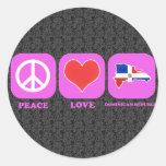 República Dominicana del amor de la paz Pegatina Redonda