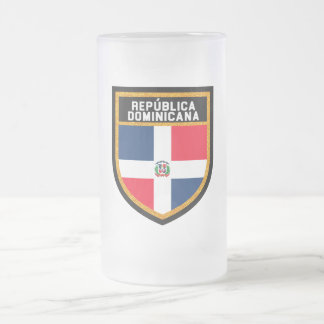 República Dominicana Flag Frosted Glass Beer Mug