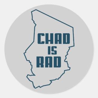República eo Tchad es azul del esquema del Rad Pegatinas Redondas