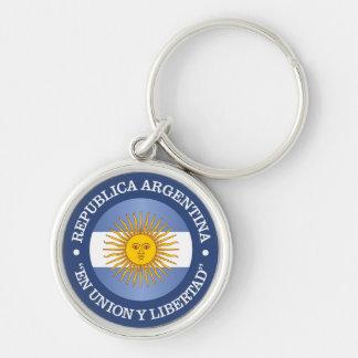 Republica la Argentina Llavero Redondo Plateado
