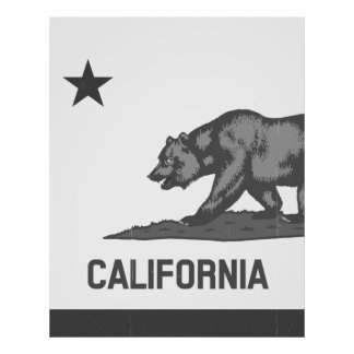 República parcial de California (negro) Póster