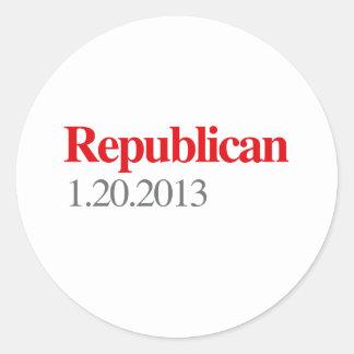 REPUBLICAN 1-20-2013 CLASSIC ROUND STICKER