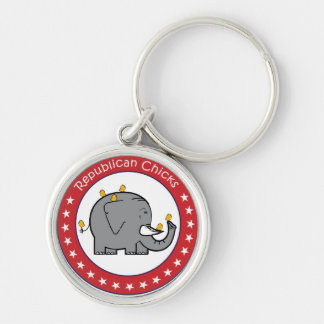 republican chicks Silver-Colored round keychain