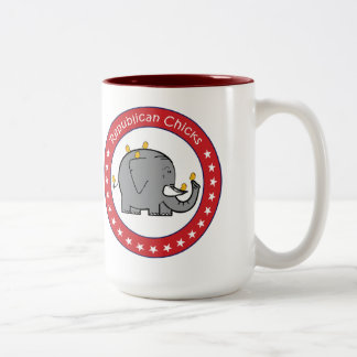 republican chicks Two-Tone coffee mug