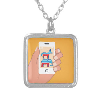 Republican Democrat Smartphone Square Pendant Necklace