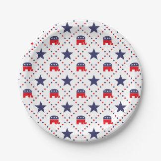 Republican Diamond Pattern 7 Inch Paper Plate