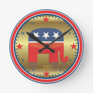 Republican Election Elephant Golden Wall Clock