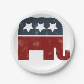 republican elephant 7 inch paper plate