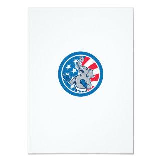 Republican Elephant Boxer Mascot Circle Cartoon 4.5x6.25 Paper Invitation Card