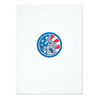 Republican Elephant Boxer Mascot Circle Cartoon 5.5x7.5 Paper Invitation Card