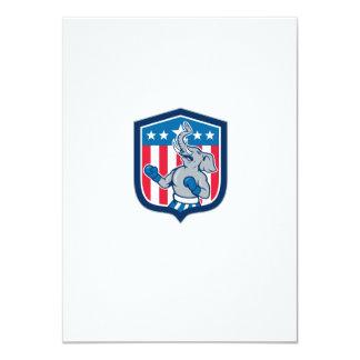 Republican Elephant Boxer Mascot Shield Cartoon 4.5x6.25 Paper Invitation Card