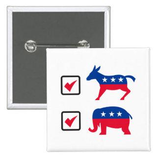 Republican Elephant Democrat Donkey Election Ballo 2 Inch Square Button