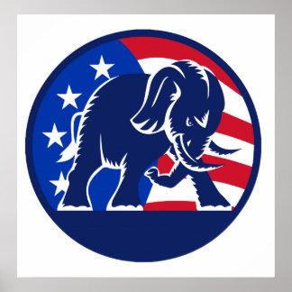 Republican Elephant Flag Print