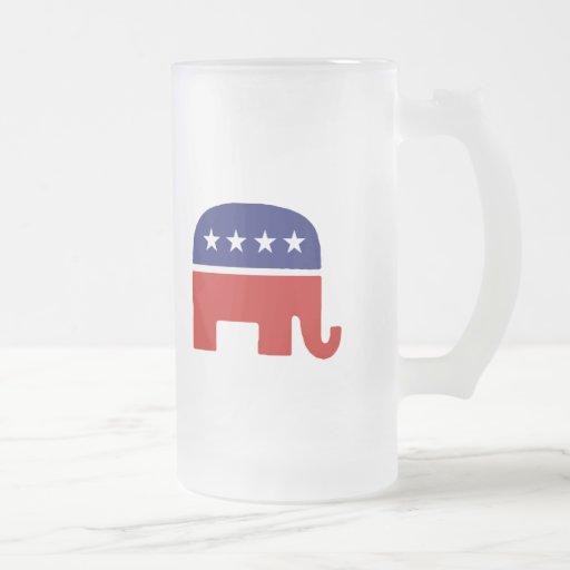 Republican Elephant / GOP Elephant 16 Oz Frosted Glass Beer Mug