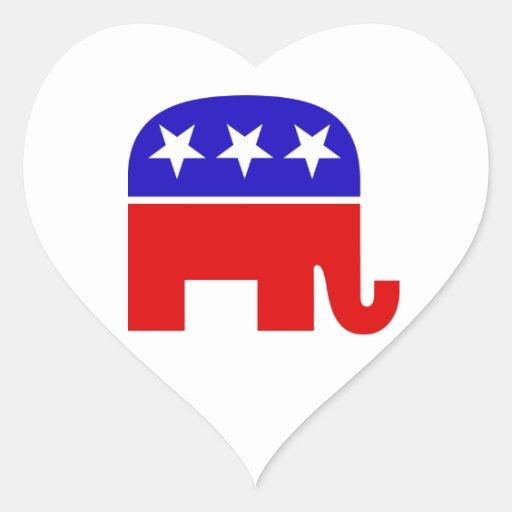Republican Elephant Heart Sticker