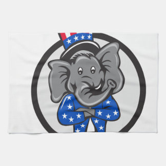 Republican Elephant Mascot Arms Crossed Circle Car Kitchen Towel