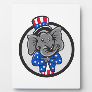 Republican Elephant Mascot Arms Crossed Circle Car Plaque