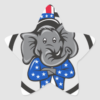 Republican Elephant Mascot Arms Crossed Circle Car Star Sticker