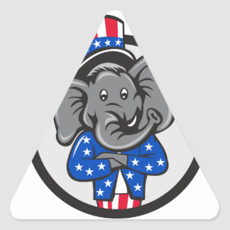 Republican Elephant Mascot Arms Crossed Circle Car Triangle Sticker