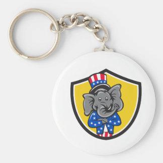 Republican Elephant Mascot Arms Crossed Shield Car Keychain
