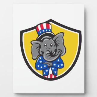 Republican Elephant Mascot Arms Crossed Shield Car Plaque