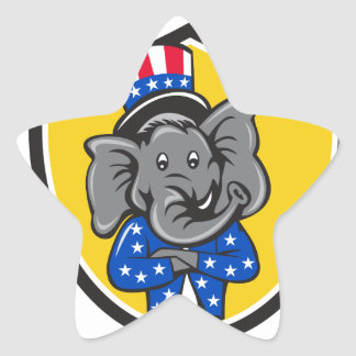 Republican Elephant Mascot Arms Crossed Shield Car Star Sticker