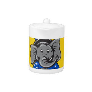 Republican Elephant Mascot Arms Crossed Shield Car Teapot