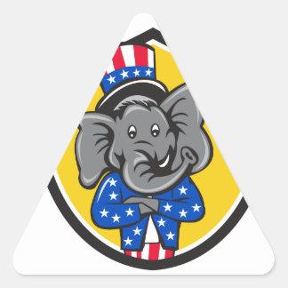 Republican Elephant Mascot Arms Crossed Shield Car Triangle Sticker