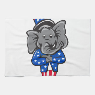 Republican Elephant Mascot Arms Crossed Standing C Kitchen Towel