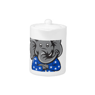 Republican Elephant Mascot Arms Crossed Standing C Teapot
