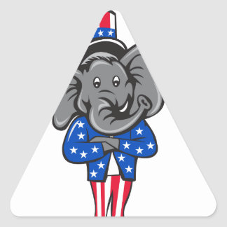 Republican Elephant Mascot Arms Crossed Standing C Triangle Sticker
