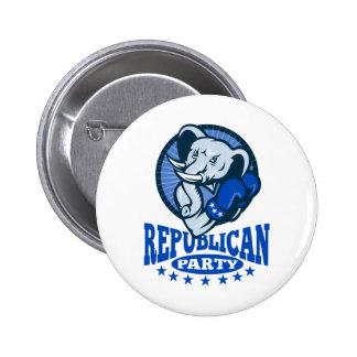 Republican Elephant Mascot Boxer 2 Inch Round Button