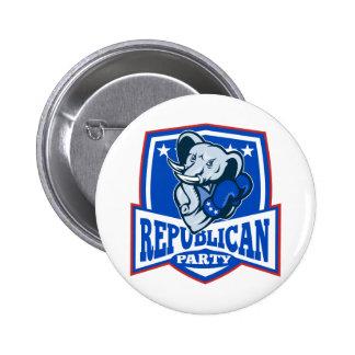 Republican Elephant Mascot Boxer Shield 2 Inch Round Button