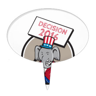 Republican Elephant Mascot Decision 2016 Circle Ca Cake Topper