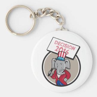 Republican Elephant Mascot Decision 2016 Circle Ca Keychain