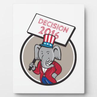 Republican Elephant Mascot Decision 2016 Circle Ca Plaque