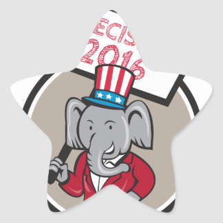 Republican Elephant Mascot Decision 2016 Circle Ca Star Sticker