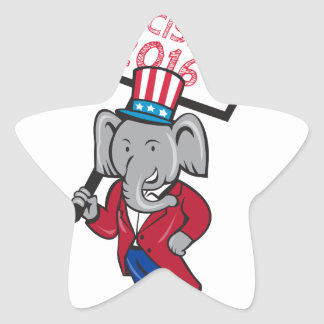 Republican Elephant Mascot Decision 2016 Placard C Star Sticker