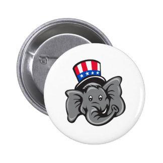Republican Elephant Mascot Head Top Hat Cartoon Button