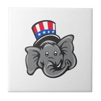 Republican Elephant Mascot Head Top Hat Cartoon Ceramic Tile