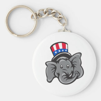 Republican Elephant Mascot Head Top Hat Cartoon Keychain