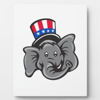 Republican Elephant Mascot Head Top Hat Cartoon Plaque