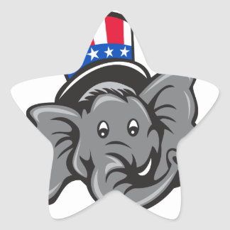 Republican Elephant Mascot Head Top Hat Cartoon Star Sticker