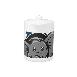 Republican Elephant Mascot Head Top Hat Cartoon Teapot