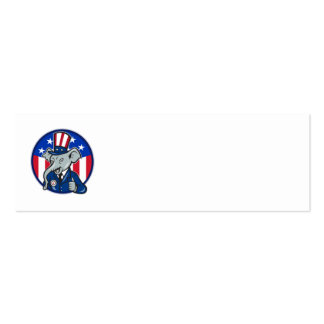 Republican Elephant Mascot Thumbs Up USA Flag Double-Sided Mini Business Cards (Pack Of 20)