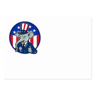 Republican Elephant Mascot Thumbs Up USA Flag Large Business Cards (Pack Of 100)
