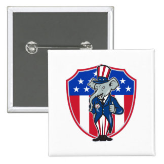 Republican Elephant Mascot Thumbs Up USA Flag 2 Inch Square Button
