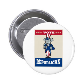 Republican Elephant Mascot Thumbs Up USA Flag 2 Inch Round Button