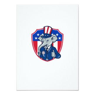 Republican Elephant Mascot Thumbs Up USA Flag Cart 4.5x6.25 Paper Invitation Card