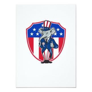 Republican Elephant Mascot Thumbs Up USA Flag 4.5x6.25 Paper Invitation Card